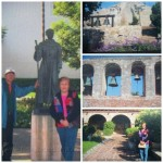 Mom and Dad poses with St John Capistrano, photo includes the four-bell campanario